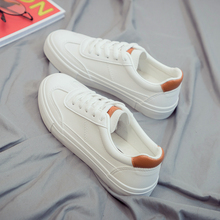 Купить с кэшбэком Woman Leather Shoes New Fashion Casual Thin Solid Color PU Leather Shoes Woman Casual White Shoes Sneakers Women's shoes