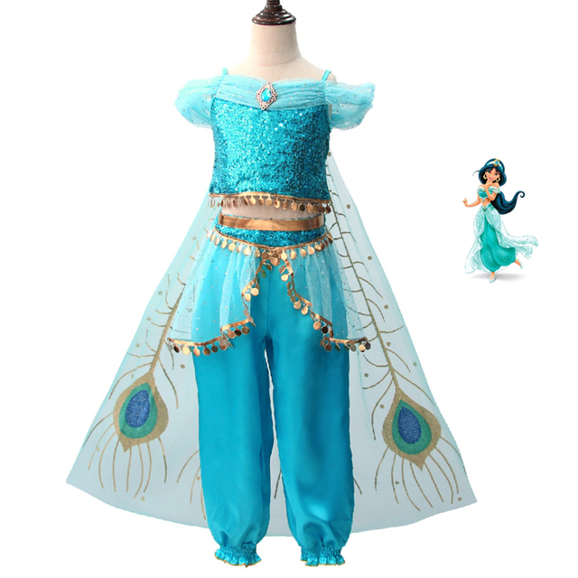 Alladin Princess Molly Cosplay Dress Pants Set For Girls Cosplay Party Pance Perfomance Holiday Halloween Free Shipping