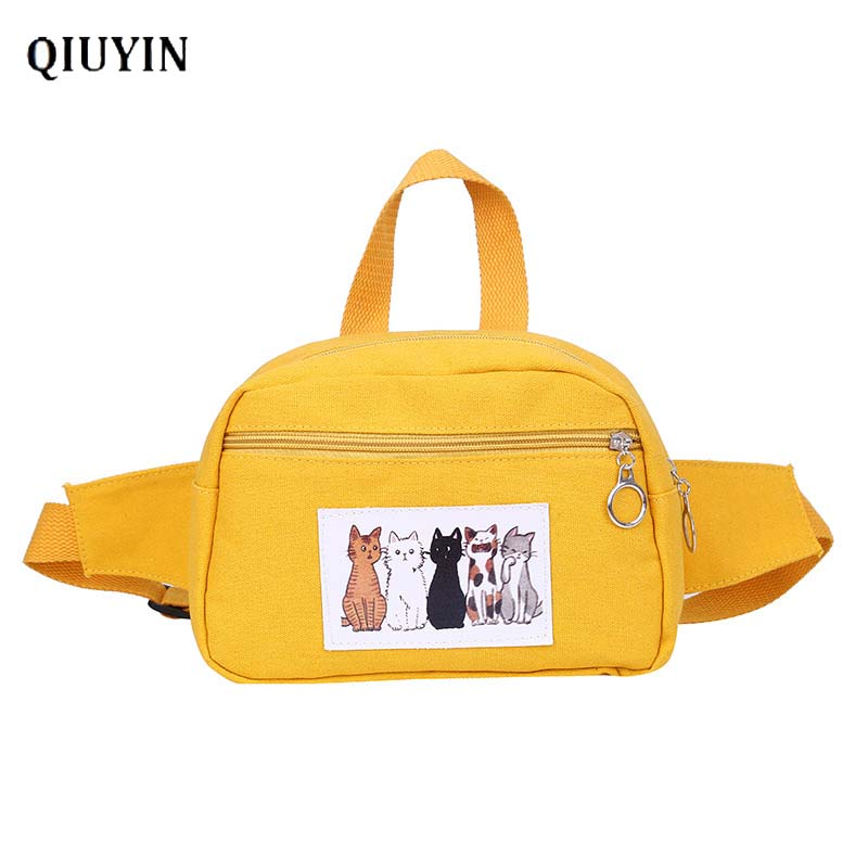 Qiuyin Hip Hop Bag Crossbody Places Faces Bag Women's Waist Bag Summer Bag Pouch Cute Korean Travel Belt Streetwear Zip Pouch image