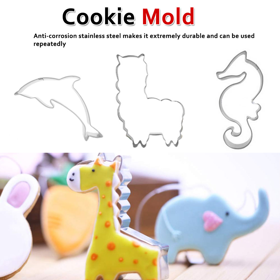 Stainless Steel Fondant Cutter Baking Cookie Mold Biscuit Mould Biscuit Printing Tools Children's Day Marine Life Cookie Cutter