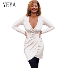 YEYA Deep V Neck Club Sexy Bodycon Dress Long Sleeve Hollow Out Femme Elegant Short Women New Arrival Bandage Vestidos