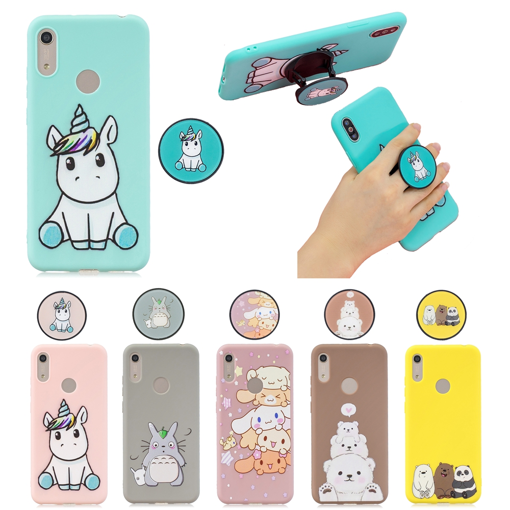 Honor 8A on for Etui <font><b>Huawei</b></font> <font><b>Y6</b></font> Prime <font><b>2019</b></font> case Cover Kawaii Unicorn Fold Phone Holder <font><b>Funda</b></font> <font><b>Huawei</b></font> Y6S <font><b>2019</b></font> Silicone Case Women image