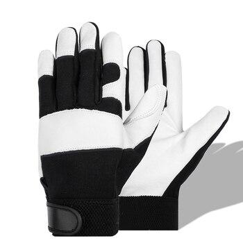HENDUGLS 5pcs Winter Anti Impact Safety Working Gloves Sheepskin Thickening Winter Warm Leather Men's Shockproof Gloves 5600