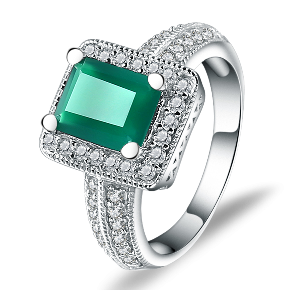 Gem's Ballet 2.05Ct Emerald Cut Natural Green Agate Ring 925 Sterling Silver Gemstone Vintage Rings For Women Fine Jewelry