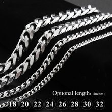 Titanium steel chain stainless steel six side grinding chain punk necklace, men, women, curb Cuban link chain necklace