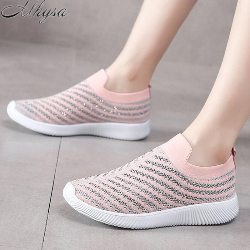 2020 New Spring Light Women Casual Shoes Breathable Mesh Women Flat Sneakers Slip On Shoes Woman Plus Size 35-43 Tenis Feminino