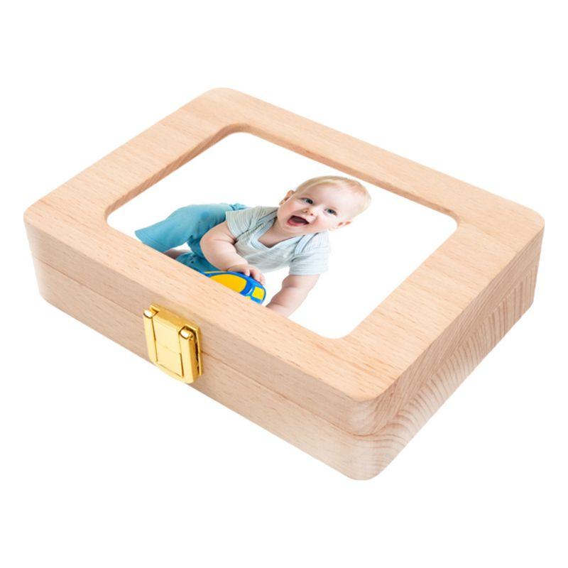 Wooden Photo Frame Fetal Hair Deciduous Tooth Organizer Milk Teeth Storage Box Newborn Baby Souvenirs Gift