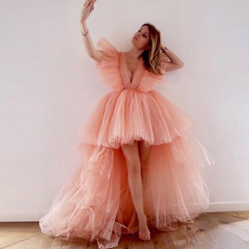 Eightree V Neck Princess Wedding Dresses Pink High-Low Wedding Gowns Boho Sleeveless Wedding Dress Vestido De Noive Bride Dress