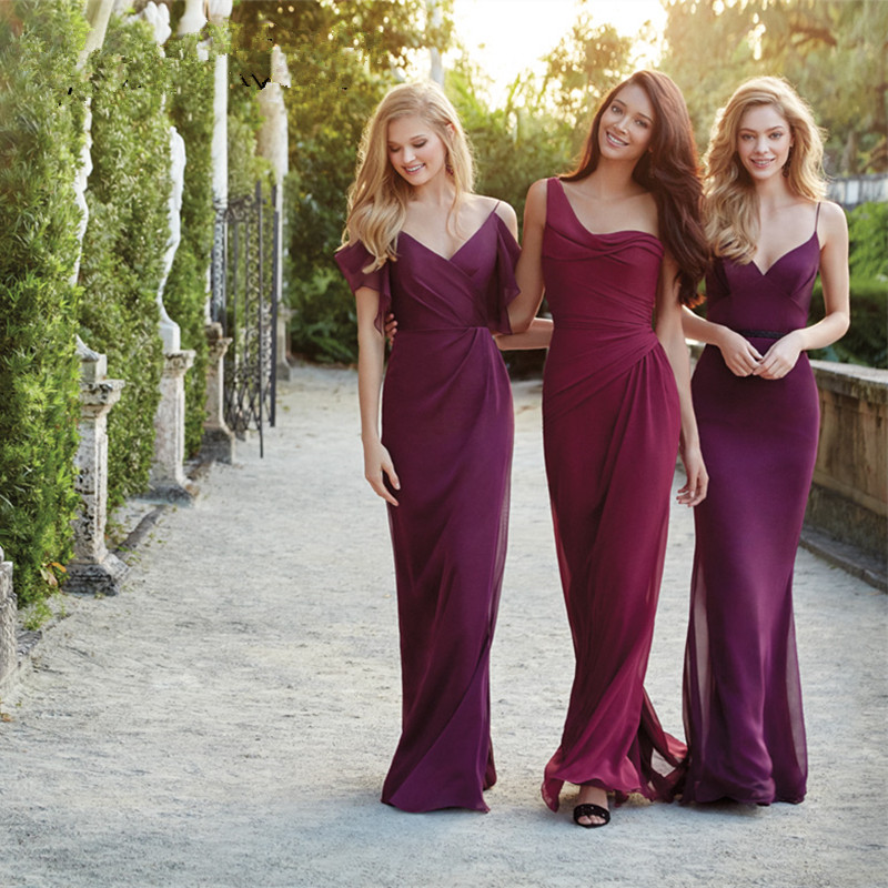 Most Popular Wine Red Bridesmaid Dress Series Floor Length Sexy Backless Long Chiffon Bridesmaid Dresses Mermaid Party Dresses