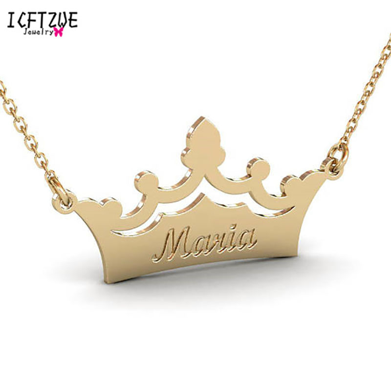 Personalized Name Crown Necklace Crown Pendant Necklaces Custom Name Laser Engrave Stainless Steel Chain Jewelry Birthday Gifts in Pendant Necklaces from Jewelry Accessories