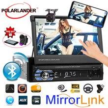 Выдвижной 1 din 7 дюймов Автомобильный Радио сенсорный экран Bluetooth MP4 MP5 видео плеер стерео Поддержка FM TF USB Зеркало Ссылка камера заднего вида