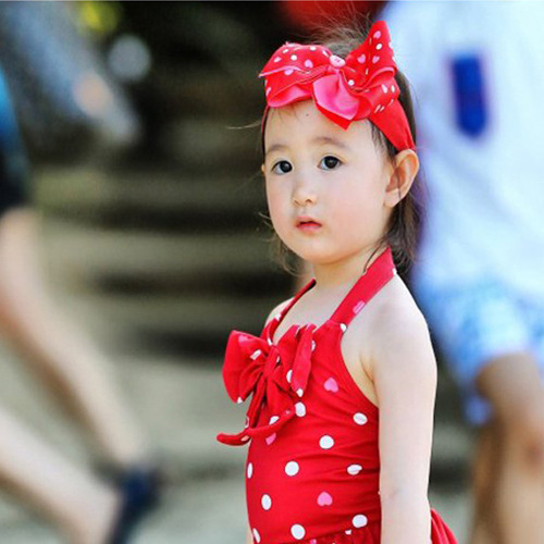 KID'S Swimwear GIRL'S One-piece Polka Dot Cute Baby Bikini Girls Princess Dress-Swimwear BABY'S Bathing Suit