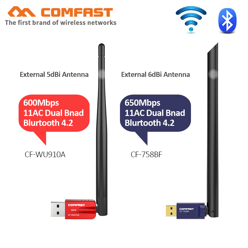 Free Driver USB WiFi Adapter 5G AC600 600Mbps WPS WiFi Antenna PC Computer Network Card 802.11ac Bluetooth Wi Fi Receiver Dongle