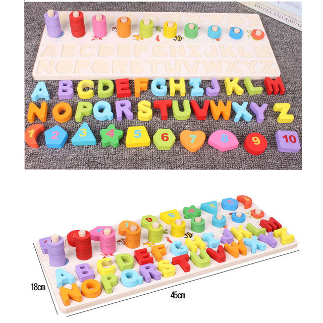 New Wooden Multi-function Learning Board Baby Early Educational Toys for Children Digital/ Shape/ Alphabet Cognitive Puzzle Toy