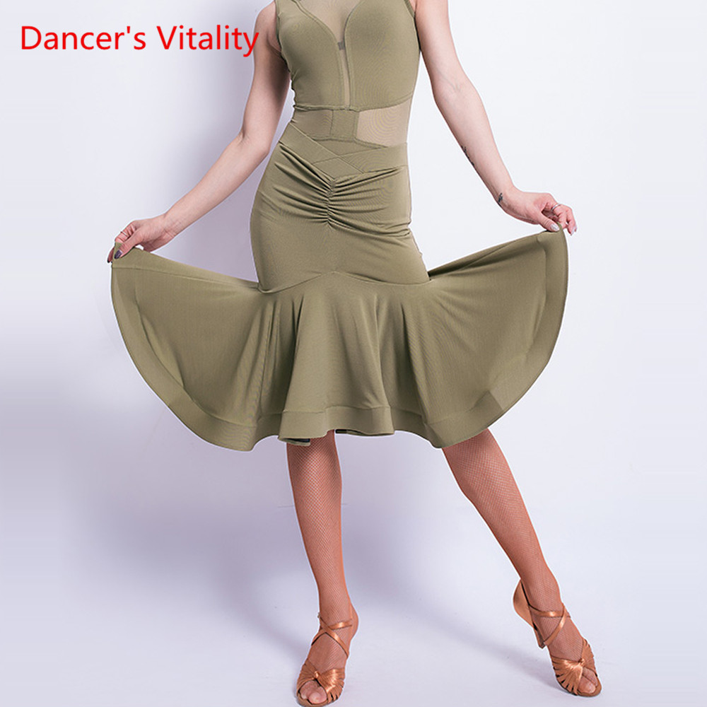 Latin Dance Skirt New Female Adult Skirt Green Black Sexy Skirt Latin Dance Rumba Dance Costume Competition/Performance Clothes