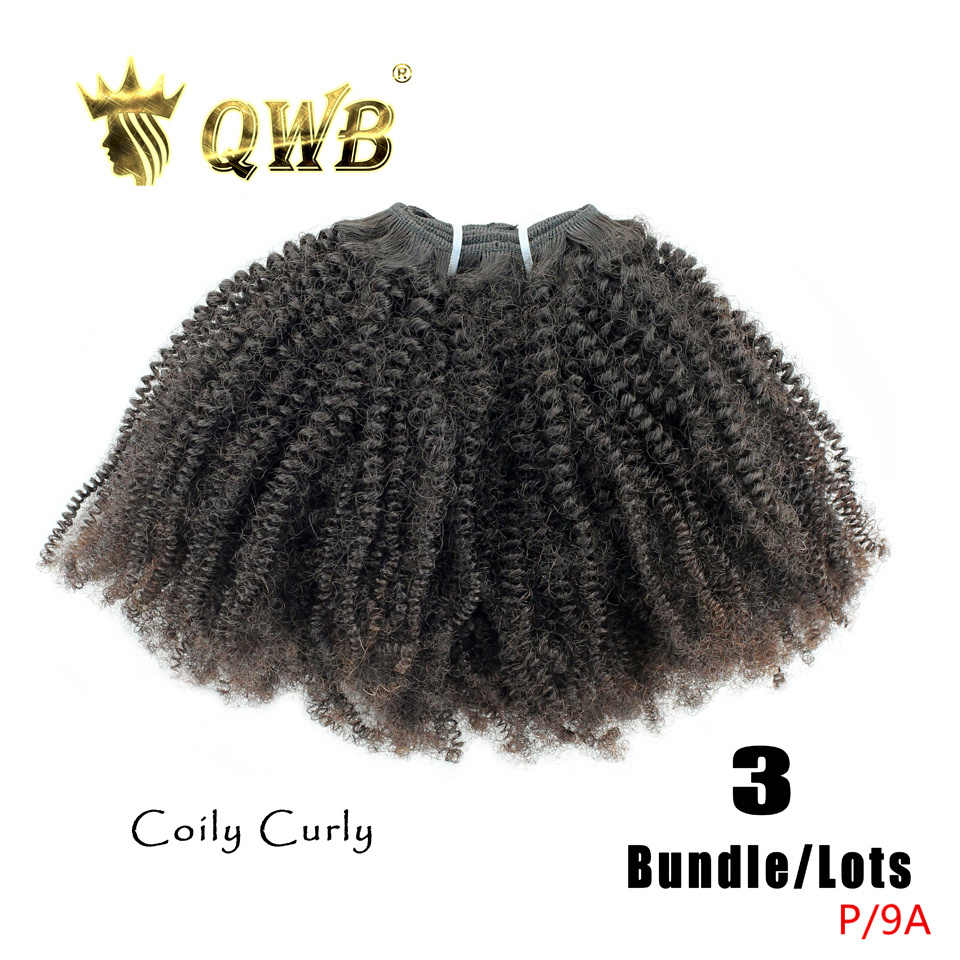 QWB Free Shipping Coily Curly 3Bundle/Lots 14'~22'Professional Ratio Brazilian Virgin Nature Color 100% Human Hair Extension