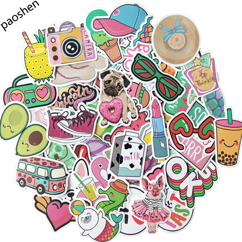 50pcs Pink Cartoon VSCO Girl Stickers Children's Toys Stickers Waterproof DIY Portable Suitcase Bicycle Helmet Car Decal Sticker