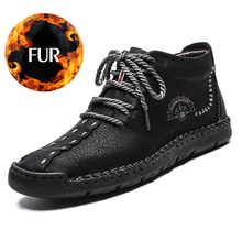 Hot Koop Winter Mannen Laarzen Echt Leer Bont Snowboots Lace Up Waterdicht Schoeisel Mannelijke Casual Mannen schoenen Mode Nieuwe big Size(China)
