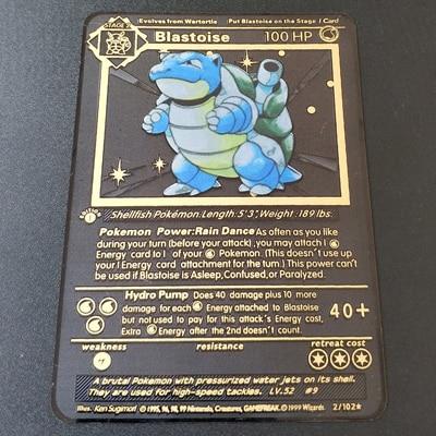 Покемон Игры Аниме битва карта золотая металлическая карточка Чаризард Пикачу коллекция карточная фигурка Модель Детская игрушка подарок - Цвет: Blastoise H