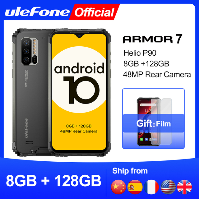 Ulefone Armor 7 – Téléphone portable robuste, smartphone version mondiale, Android 10, 2,4G/5 G, wifi, 8 Go + 128 Go, Helio P90 IP68, appareil photo 48 MP, 4G, LTE