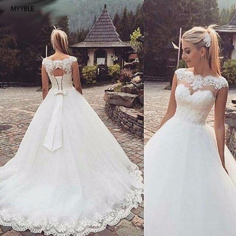 MYYBLE Backless Short Cap Sleeve Bohemian Wedding Dresses 2019 Plus Size Custom-made Vestido De Noiva Wedding Dress