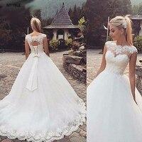 MYYBLE Backless Short Cap Sleeve Bohemian Wedding Dresses 2019 Plus Size Custom made Vestido De Noiva Wedding Dress