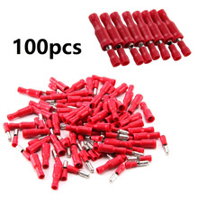 цена на 100pcs Red Male Female Bullet Insulated Connector Crimp Terminals Wiring Cable Plug For Wire Size 0.4mm To 1mm / 22-16 AWG Cable