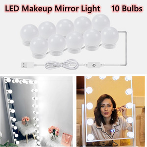 3 Modes Colors Makeup Mirror Light Led Touch Dimming Vanity Dressing Table Lamp Bulb USB 12V Hollywood Make Up Mirror Wall Lamp