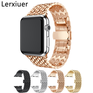 Браслет из нержавеющей стали для Apple Watch series 3 2 1 42 мм 38 мм роскошный браслет для iwatch 5 4 40 мм 44 мм ремешок аксессуары для часов