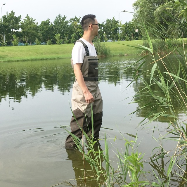 Fishing Waders Hunting Suit 3 Layer Waterproof Wading Pants with Neoprene Boots Waist or Chest Fly Fishing Clothes Overalls 3