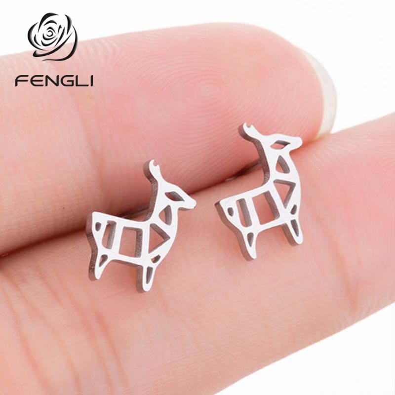 FENGLI Simple Romantic Deer Stud Earrings for Women Girls Trendy Small Earring Wedding Jewelry Valentines Day Gifts