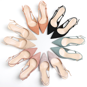 Shoes Woman 2020 Spring 6CM Thin High Heels Slingbacks Female Pointed Toe Solid Flock Women's Shoes Office Lady Elegant Sandals(China)