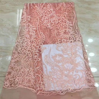Peach High Quality Sequence Lace Fabric Fashion Organza Lace Fabric 2019 African Lace Fabrics with Sequins for Party Dress