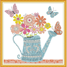 Joy Sunday,Flower Pot,cross stitch embroidery kit,Needlework counted cross-stitch patterns,Flower pattern cross stitch kit joy sunday wine cross stitch embroidery set cross stitch pattern needlework counted cross stitch patterns chinese cross stitch
