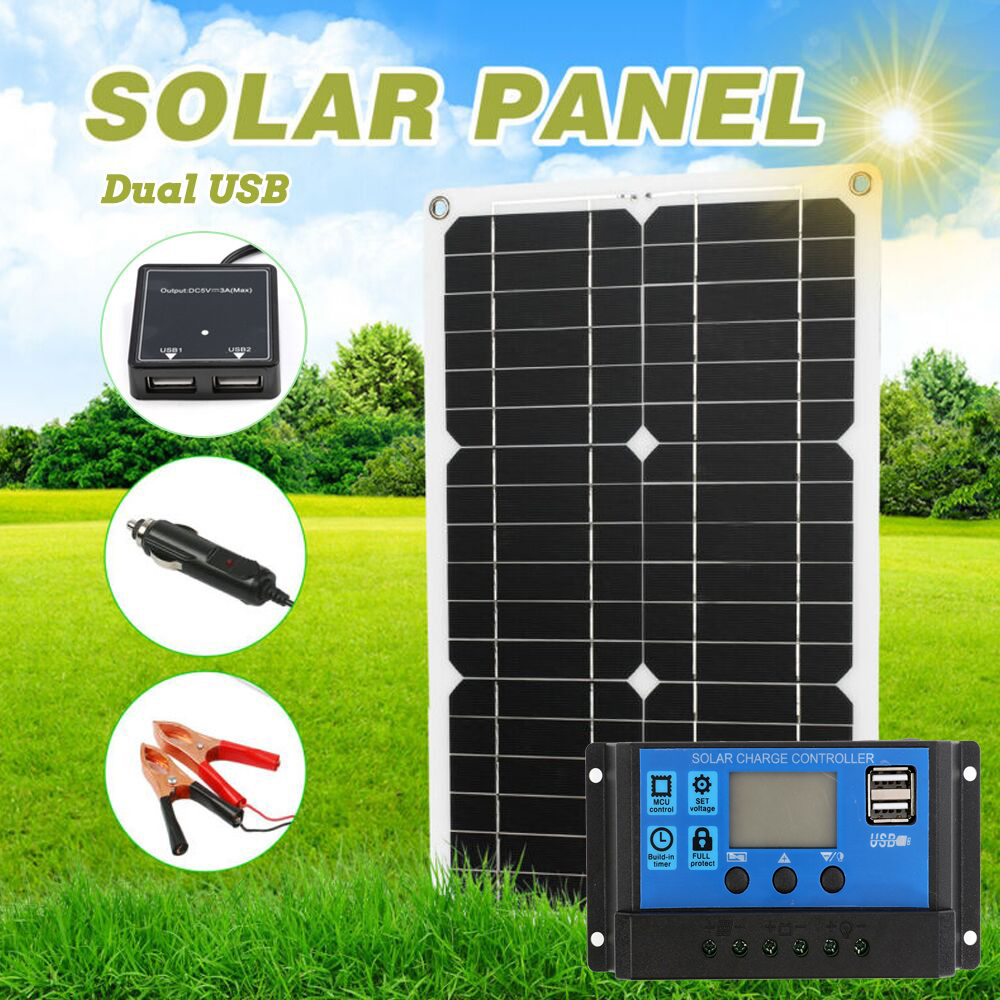 180W 12V Professional Solar Panel Kit 1 2 USB Port Off Grid Monocrystalline Module LCD Display with 20A Solar Charge Controller