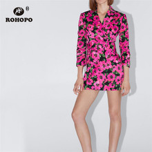 ROHOPO Double Layers Notched Collar Dark Pink Floral Belted Dress Draped Cuff Side Pocket Ladies Long Outwear Vestido #9071 недорого