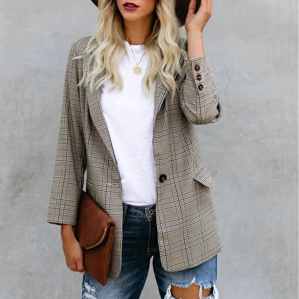 Plaid Houndstooth Blazer Women Autumn Single Button Office Vintage Suit Coat Jacket Blazer For Ladies Formal Work Blazers D30