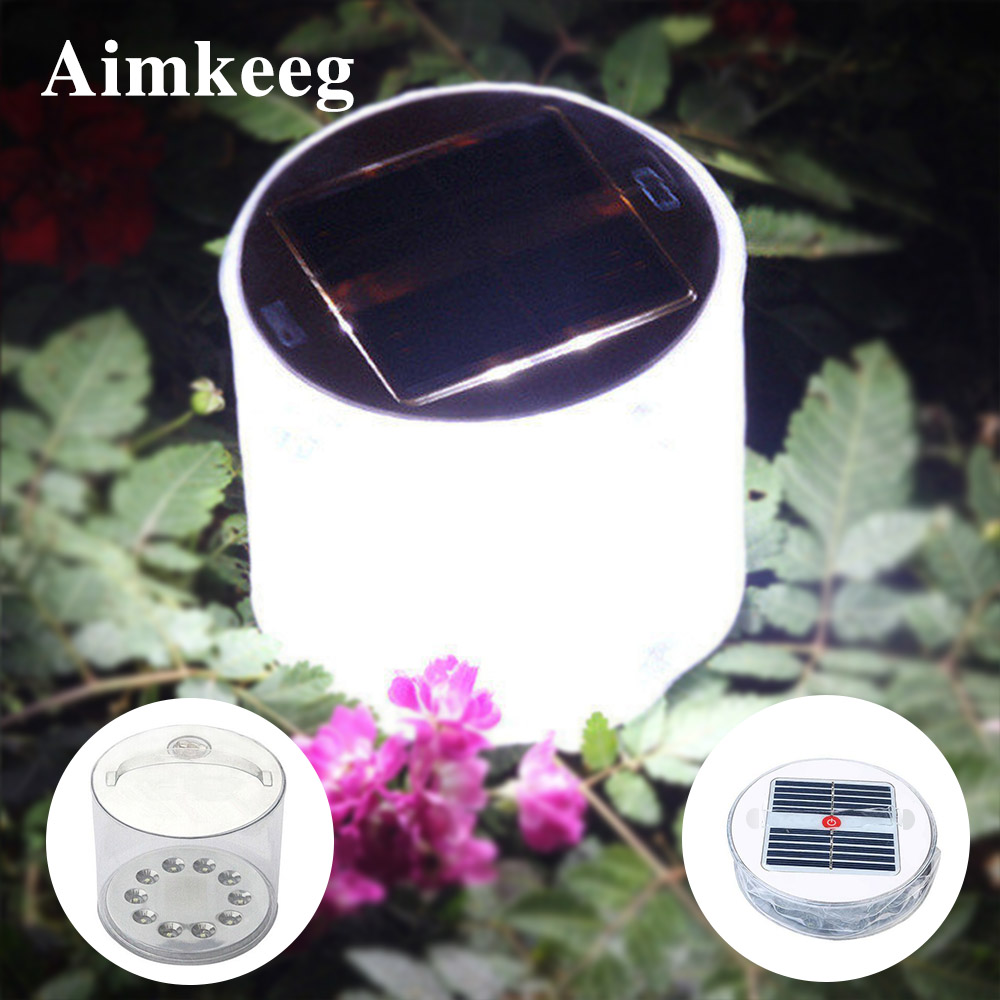 10LED Camping Solar Powered Foldable Inflatable Portable Light Lamp Outdoor Waterproof Hiking Fishing Lighting LED Solar Light