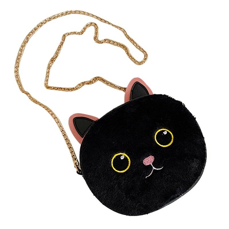 Children Girls Cute Plush Cartoon Cat Ear Design Cross-body Handbag Bags Shoulder Messenger Bags