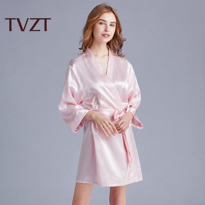 Tvzt 2020 New Nightgown Women's Spring Summer Home Service Women's Ribbon Nightgown Loose Pure Color Comfortable Elegant