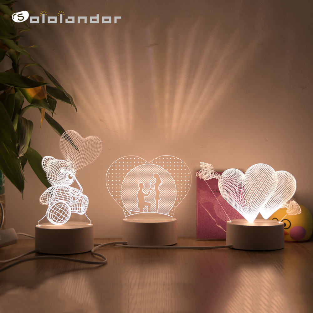 로맨틱 러브 3d 램프 하트 모양의 풍선 아크릴 led 나이트 라이트 장식 테이블 램프 발렌타인 데이 아내 아내 선물