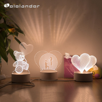 Romantic Love 3D Lamp Heart-shaped Balloon Acrylic LED Night Light Decorative Table Lamp Valentine's Day Sweetheart Wife's Gift