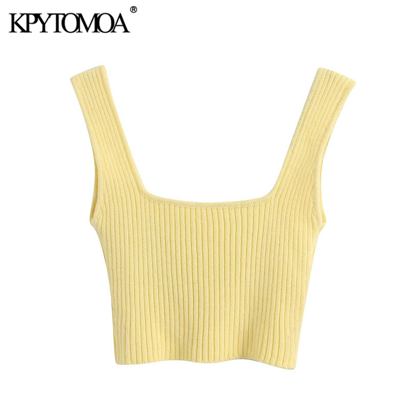 KPYTOMOA Women 2020 Sweet Fashion Stretch Slim Knitted Cropped Blouses Vintage Square Collar Straps Female Shirts Chic Tops