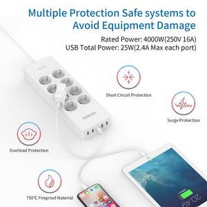 Image 4 - Ntonpower Wandmontage Power Strip 4000W Elektrische Socket Eu Plug Met 8AC 5 Usb Surge Protector Voor Home Office netwerk Filter