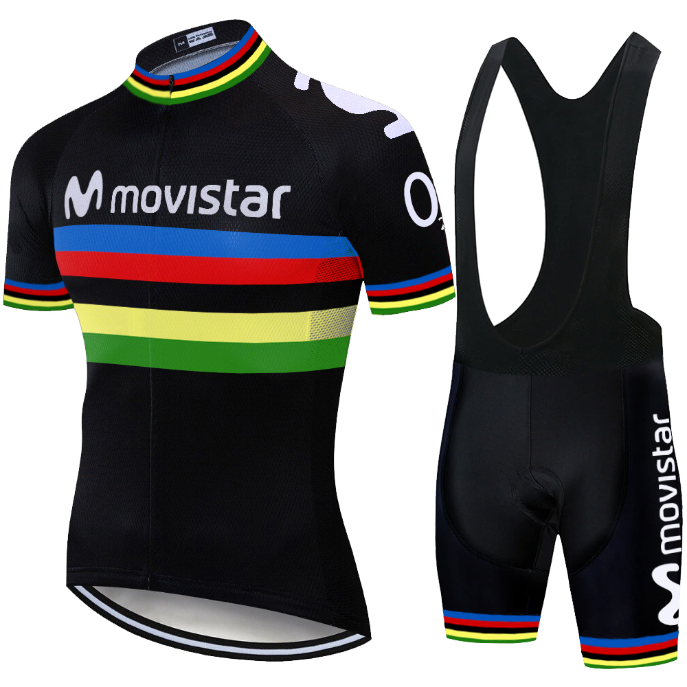 BlacK Movistar Cycling Clothing Bike Jersey Quick Dry Completo Ciclismo Estivo 2019 Cycling Jersey 12D Bike Shorts
