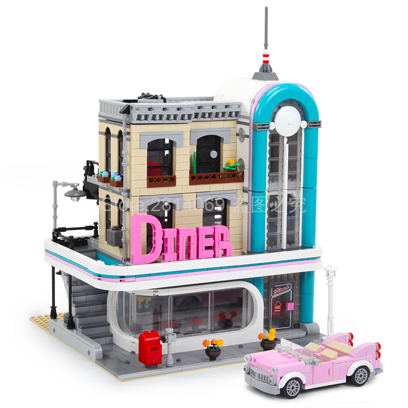15037 Creator The Downtown Diner Set Genuine Streetview City Street 2778Pcs Building Blocks Bricks Toys Compatible With 10260