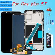For OnePlus 5T AMOLED Original LCD screen assembly and front case Black Free repair tools and Tempered film