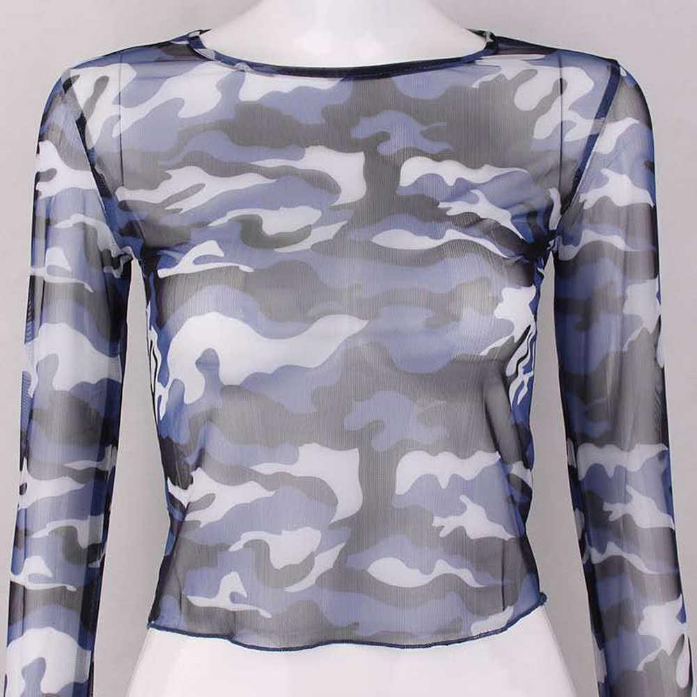 נשים הסוואה ארוך שרוול רשת חולצות Streetwear הקצוץ O צוואר T חולצה יבול חולצות אופנה נשי Harajuku חולצת טי למעלה