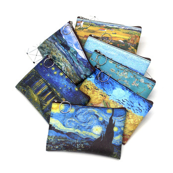 1 Pcs Mini Vintage Oil Painting Coin Purse Women Girls Fashion Printed PU Wallet Lipstick Portable Money Purse Pocket Bag New