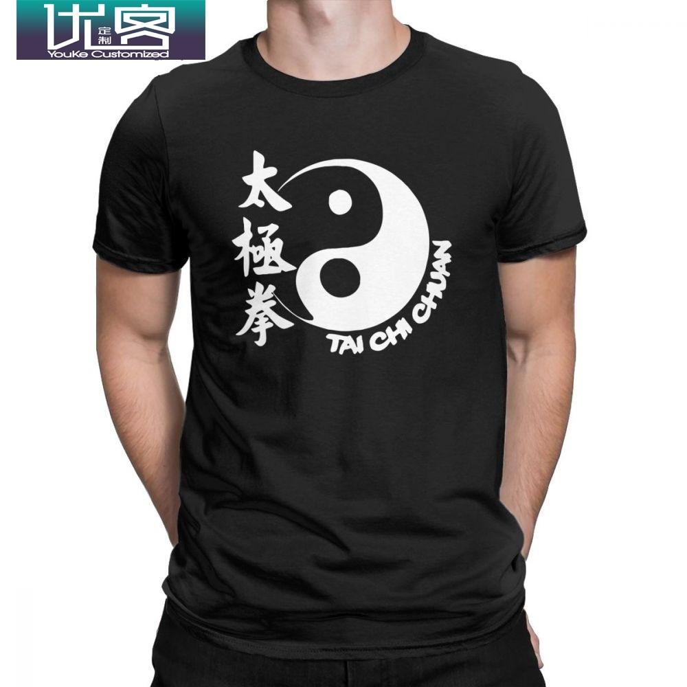 Tai Chi Chuan Футболка мужская из чистого хлопка хипстер футболки с вырезом лодочкой футболки с коротким рукавом Одежда 4XL 5XL 6XL